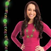 Mardi Gras Bead LED Necklace - 33 Inch