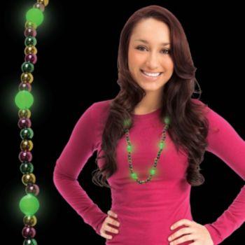 Mardi Gras Bead LED Necklace - 33 Inch