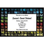 Colorful Sweet 16 Personalized Invitations