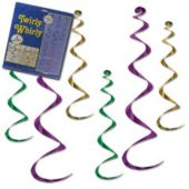 Mardi Gras Twirly Whirly Decorations-6 Per Unit