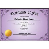 Certificate Purple Personalized Invitations