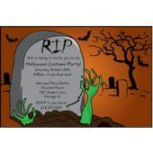 Halloween Headstone Personalized Invitations