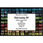 Colorful Forty  Personalized Invitations