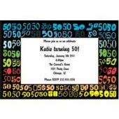 Colorful Fifty  Personalized Invitations