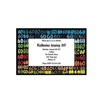 Colorful Sixty Personalized Invitations