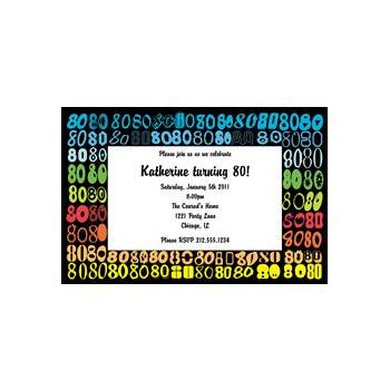 Colorful Eighty Personalized Invitations