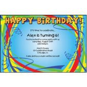 Birthday Ribbons Personalized Invitations