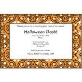 Orange Stars & Swirls Personalized Invitations