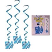It's A Boy Whirl Decorations-5 Pack