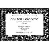 Silver Stars & Swirls Personalized Invitations