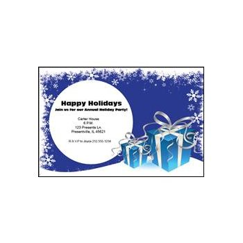 Blue Holiday Gifts Personalized Invitations