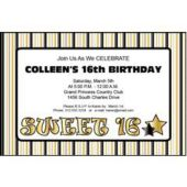 Golden Sweet 16  Personalized Invitations