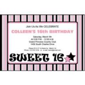 Funky Pink Sweet 16 Personalized Invitations