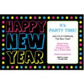 New Year Neon Dots Personalized Invitations