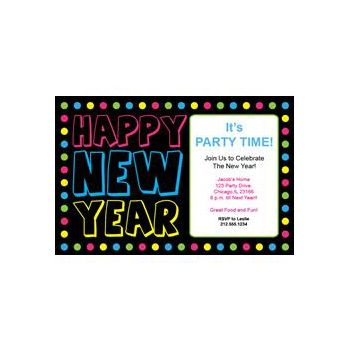 Happy New Year Neon Dots Invitations