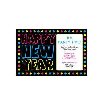 Happy New Year Neon Dots Invitations
