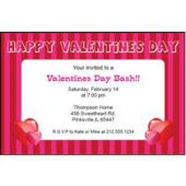 Valentine's Day Stripe Personalized Invitations