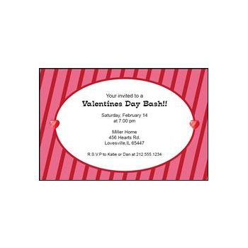 Valentine's Stripe Personalized Invitations