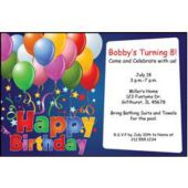 Balloons On Blue Personalized Invitations