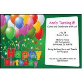 Balloons On Green Personalized Invitations