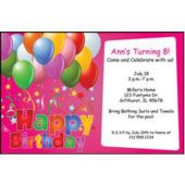 Balloons on Pink Personalized Invitations
