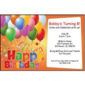 Balloons On Orange Personalized Invitations