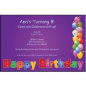 Balloon Birthday Purple Personalized Invitations