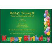 Balloon Birthday Green Personalized Invitations