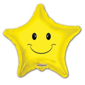 Smiley Face Star Shaped Metallic Balloon -18 Inch