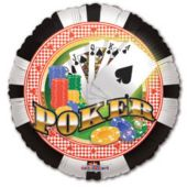 Poker Chips Metallic Balloon - 18 Inch