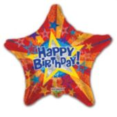 Prism Star Birthday Balloons - 18 Inch, 5 Pack