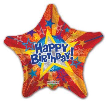 Prism Star Birthday Balloons - 18 Inch, 5 Pack