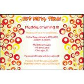 Red Funky Circles Personalized Invitations