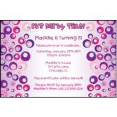 Purple Funky Circles Personalized Invitations
