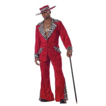 Pimp Red Crushed Velvet Adult Costume
