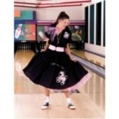 Complete Poodle Skirt Outfit Plus (Black & Pink) Adult Costume