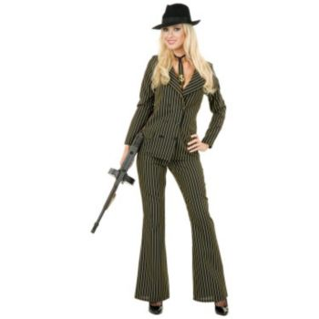 Gangster Moll 6 Button Double Breasted (BlackWhite) Adult Plus Costume