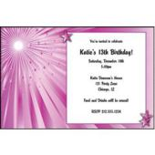 Pink Starburst Personalized Invitations