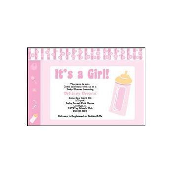 Baby Girl Pink Personalized Invitations