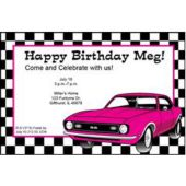Pink Hot Rod Personalized Invitations