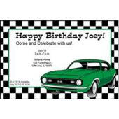 Green Hot Rod Personalized Invitations