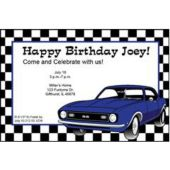 Blue Hot Rod Personalized Invitations
