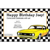Yellow Hot Rod Personalized Invitations