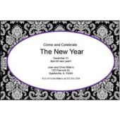 Purple Mosaic Scroll Personalized Invitations