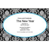 Blue Mosaic Scroll Personalized Invitations