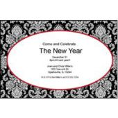 Red Mosaic Scroll Personalized Invitations