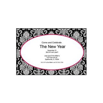 Pink Mosaic Scroll Personalized Invitations