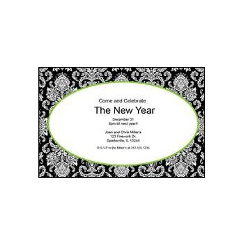 Green Mosaic Scroll Personalized Invitations