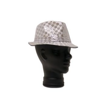 Silver Checkered Sequin Fedora