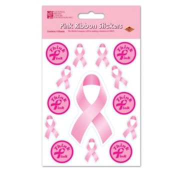 THINK PINK RIBBON STICKERS